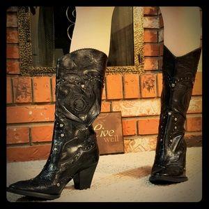 Gianni Bini Black Leather Western Cowgirl Boots